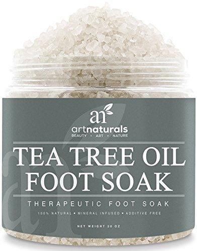 Art Naturals Teebaumöl Fußbad mit Totem Meer Salz 591 ml, Hilft Fußpilz zu entfernen & Schmerzen zu lindern | Naturreine Inhaltsstoffe & Ätherische Öle für wohltuende Fußpflege